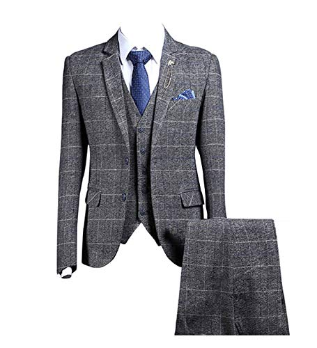 - Plaid Gray Tweed Herringbone Men Suit 3 Pieces Two Buttons Single Breasted Blazer,44chest/38waist
