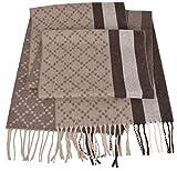 Gucci Men's 333019 Angora Wool Taupe Brown Web Stripe Diamante Scarf O/S