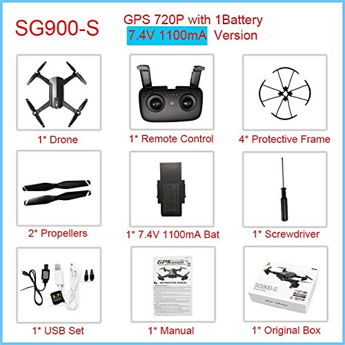 Generic GPS Drone Professional with 1080P 720P WiFi Camera HD Drone Follow Me GPS Fixed Point Foldable SG900 SG900S Drones 20 minutos GPS720P1100mA1Bat