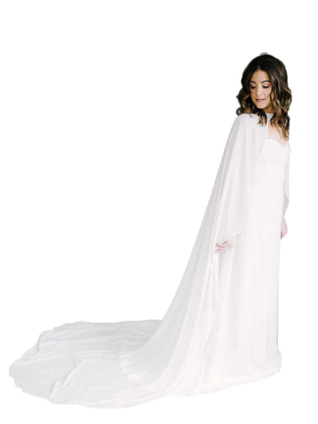 kelaixiang Charming Appliques Cathedral Length 2M Wedding Cloak Bridal Cape (2M, Ivory-style2)