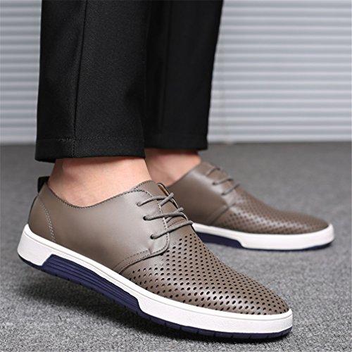 con estivi uomo per uomo Grey fori pelle casual da Scarpe scarpe traspiranti Shoes in basse qP8XwF