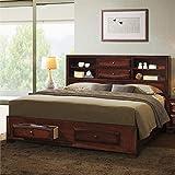 Roundhill Furniture B139BK Asger Wood Platform Bed, King, Antique Oak Finish