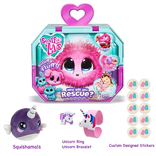 Price comparison product image Gift Bundle Little Live Scruff-A-Luvs (Pink) with 3.5 Squishamals and Magic Crystal Slime - By Simple Joy