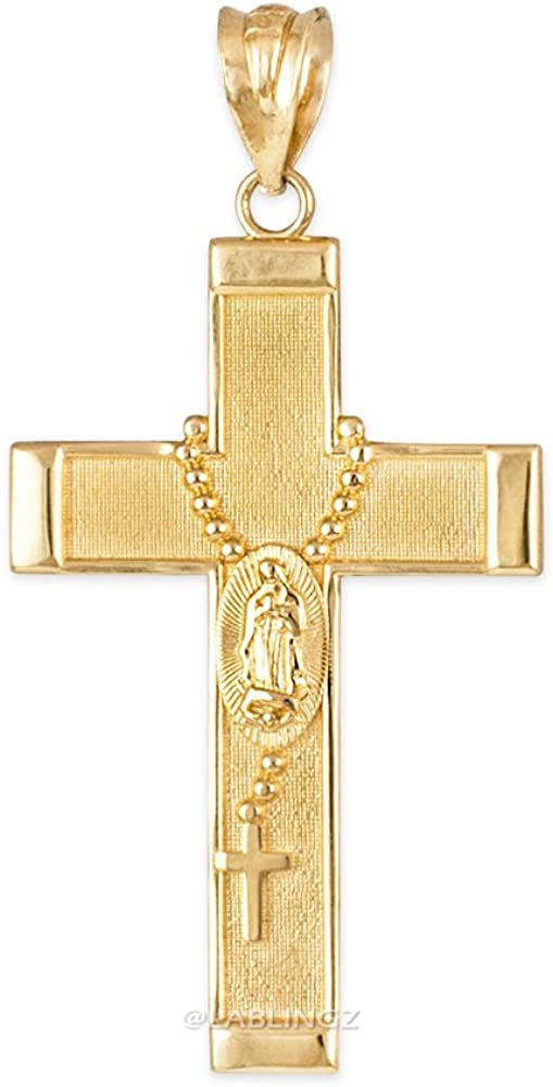Religious Jewelry by LABLINGZ 10K Yellow Gold Rosary Prayer Cross Necklace