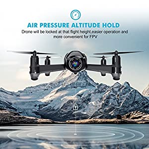 Drone with Camera, Potensic U36WH Drone Quadcopter With 720P HD Live Camera RTF 4 Channel 2.4GHz 6-Gyro(360 Degree Flip) Headless Mode & Altitude Hold Function (Black) from Potensic