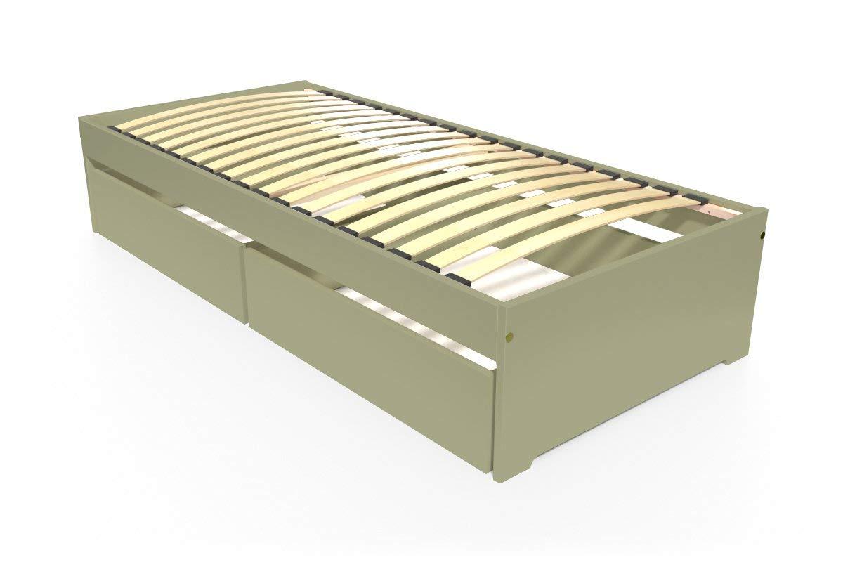 ABC MEUBLES - Einzelbett Malo 90x190 cm + Schubladen - TOPMALO90T - Taupe, 90x190