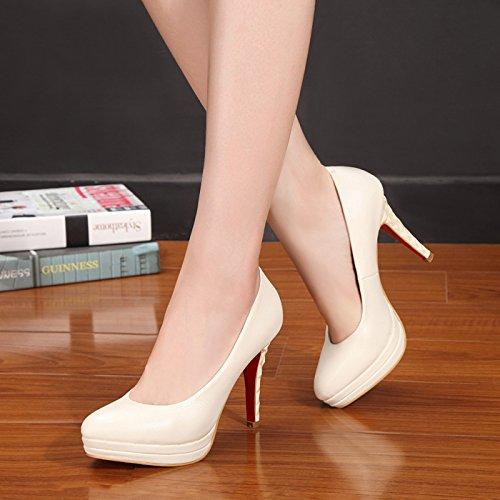 m calzature da Scarpe 34 Alta femmina carriera bianco fine e donna primavera singolo del donna scarpe nero con lavoro testa tacco impermeabili rotonda la la tUtFqgw