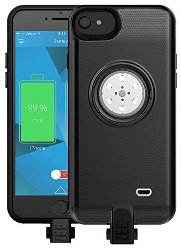 HelloZEE Battery case iPhone 6/6s/7- Built-In 64GB Memory+Battery 2600mAh+Wireless Charging+Led light - BLACK (Apple Certified) by HELLO ZEE