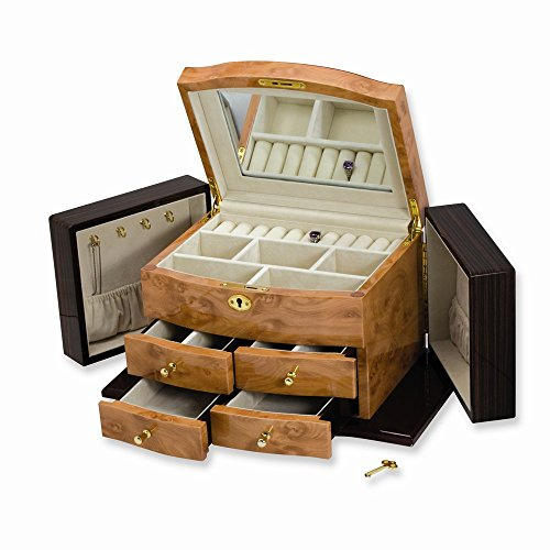 Jewelry Best Seller Blonde Burlwood, Walnut, and Dark Maple Finish Jewelry Box