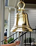 14 Inch Ridged Polished Brass Bell with Shackle