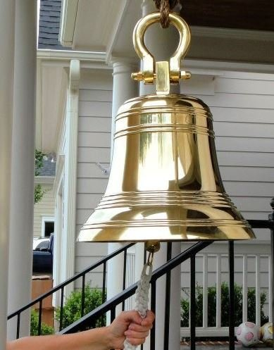 14 Inch Ridged Polished Brass Bell with Shackle by Brass Bell