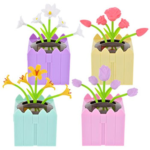 Solar-Powered Connectable Dancing Spring Flowers, Set of 4