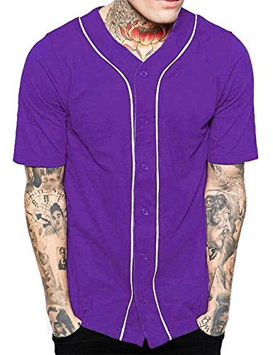 (Hat and Beyond Mens Baseball Button Down Jersey (Large, 1up01_Purple/White))
