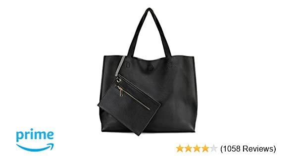4698555449a2 Amazon.com  Scarleton Stylish Reversible Tote Bag Top Handle Bag Shoulder  bag Satchel bag H18420103 - Black Grey  Shoes