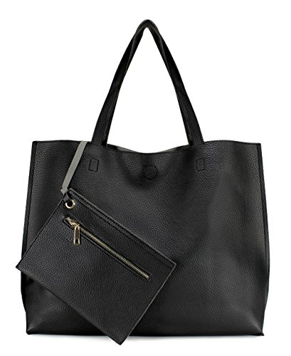 Scarleton Stylish Reversible Tote Handbag for Women, Vegan Leather Shoulder Bag, Hobo bag, Satchel Purse, Black/Grey, - Shoulder Zip Bag Suede Top