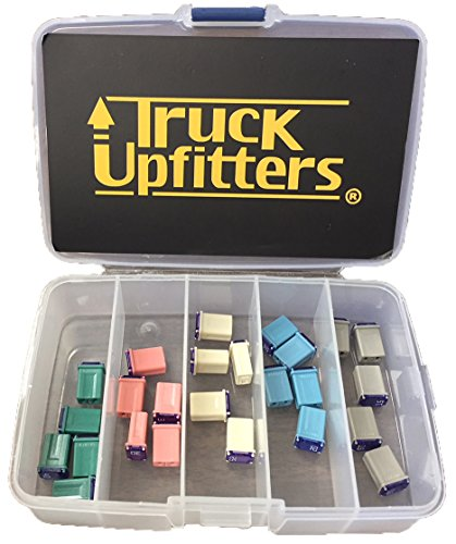 Truck Upfitters 25 pc Automotive MCASE Mini Box Shaped Cartridge Fuse Kit for Cars, Trucks, and SUVs