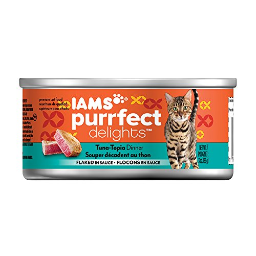 Iams Purrfect Delights Flaked Adult Wet Cat Food, Tuna, 3 Oz. (Pack Of 24)