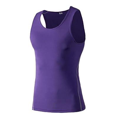 Hankyky Hommes Compression Sport T-Shirt Gilet Baselayer Athletic Entraînement Sans Manches Débardeurs Quick Dry