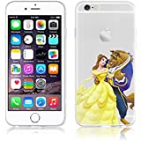 Disney PRINCESS ; MINIONS ; WINNIE ;trasparente in poliuretano termoplastico per iPhone-Cover per Apple iPhone 5, 5S, 5C, 6/6S , 6+,7(iphone 7,Beauty & Beast)
