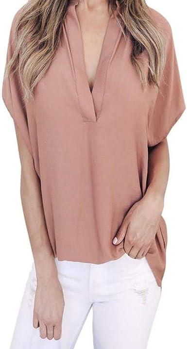 Camiseta Mujer Verano Moda Color sólido Manga Corta Elegante Blusa Camisa Cuello en v Camiseta de Gasa Suelto Tops Casual Fiesta T-Shirt Original tee vpass: Amazon.es: Ropa y accesorios