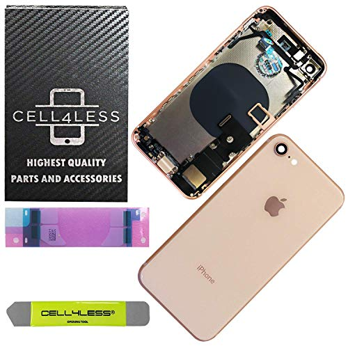 Cellular Antenna Assembly Part - CELL4LESS Back Housing Complete Assembly Metal MidFrame w/Back Glass - Wireless Charging pad - Sim Card Tray and Camera Frame and Lens for iPhone 8 (Gold)