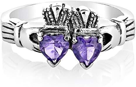 925 Oxidized Sterling Silver Irish Claddagh Two (2) Hearts Purple Amethyst Gemstone Band Ring