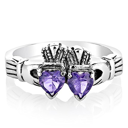 925 Sterling Silver Irish Claddagh Two (2) Hearts Purple Amethyst Gemstone Band Ring Size 7 (Heart Celtic Claddagh Ring Amethyst)