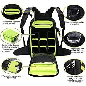 DSLR Camera Backpack Bag Photography Backpack By TUBU Fits 2 DSLR Body, 4-6 Lenses and 14 inch Laptop