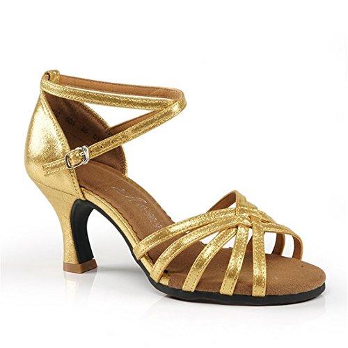 WXMDDN Zapatos de Baile Latino, Zapatos de Baile Adulto de Oro de 7cm de Fondo Blando Práctica Principiante de Baile Zapatos de Baile Zapatos de Mujer Al Aire Libre Golden 7cm Piscina
