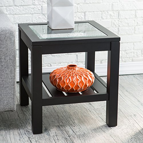 Bistro End Tables Glass Top Slat Bottom Rectangle Wood Cocktail Living Room Table Modern Furniture (Top Table Glass End Square)