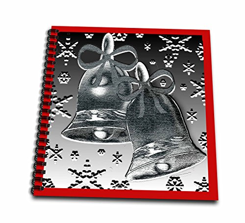 3dRose Dawn Gagnon Photography and Designs-Holidays - Silver Bell design with red border and snowflakes - Drawing Book 8 x 8 inch (Red Dawn Border)