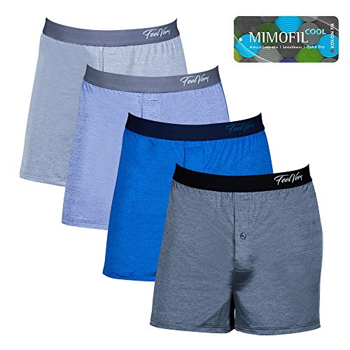 Feelvery Men's Cool Melange Active Sporty Performance Knit Boxers - 4 Pack (Medium)