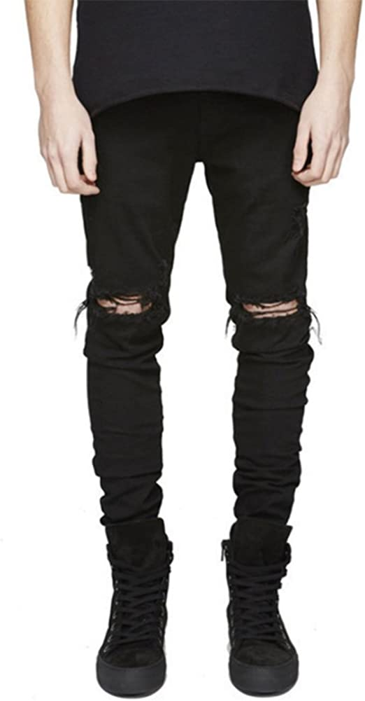 LONGBIDA Men's Ripped Slim Fit Skinny Destroyed Distressed Tapered Leg Jeans at  Men's Clothing store