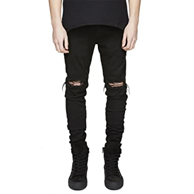 876385ba LONGBIDA Slim Fit Ripped Jeans Men Hi-Street Mens Distressed Denim Joggers  Knee Holes Washed