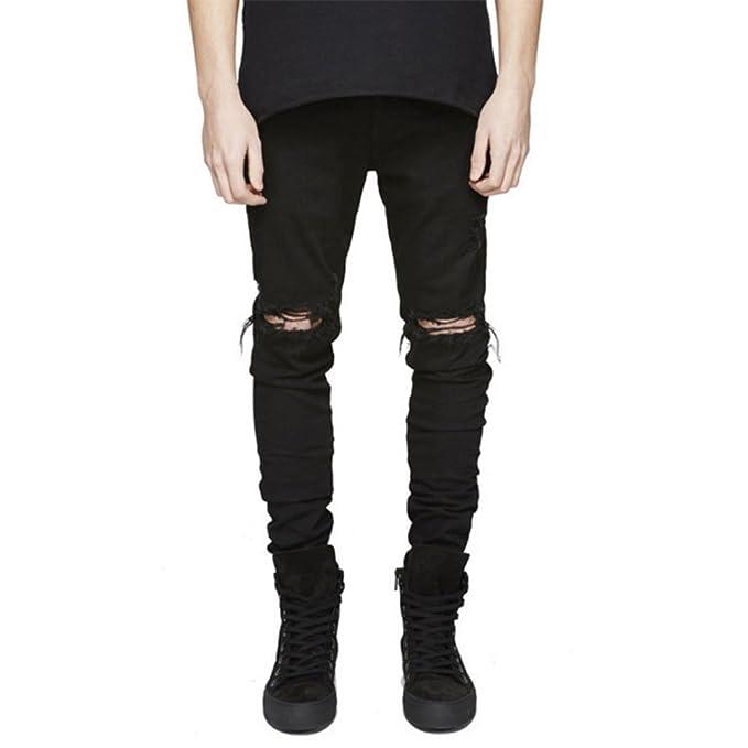 Amazon.com: LONGBIDA pantalones vaqueros desgarrados de ...
