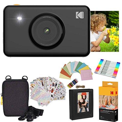 Kodak Mini Shot Instant Camera (Black) Gift Bundle + Paper (20 Sheets) + Deluxe Case + 7 Fun Sticker Sets + Twin Tip Markers + Photo Album + Hanging Frames