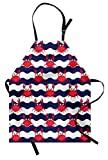 Ambesonne Crabs Apron, Nautical Maritime Theme Cute Crabs on Striped Background Illustration Print, Unisex Kitchen Bib Apron with Adjustable Neck for Cooking Baking Gardening, Red and Navy Blue