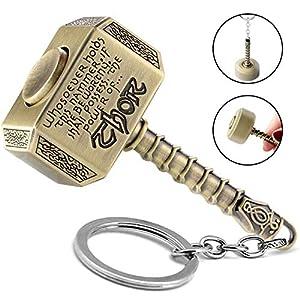 365Home Mjolnir Keychain Thor Hammer Keychain Hammer Key Ring (Bronze, Rotative Version)