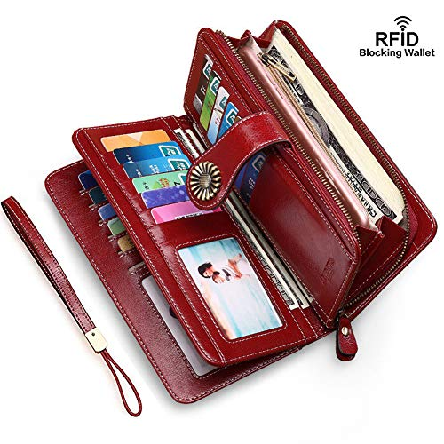 Elegant 24 20 cc Slots Womens RFID Wallets Large Capacity Leather Long Trifold