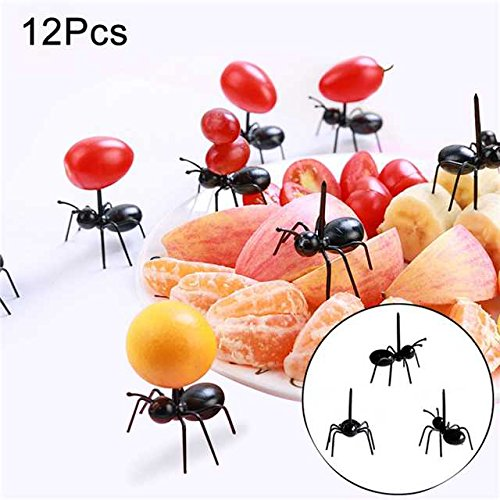 Crewell Halloween Animal Farm Ant Fruit Fork Mini Cartoon Children Food Fruit pick for bar Party Decor