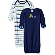 Gerber Baby Boys' 2 Pack Gown, Safari, 0-6 Months