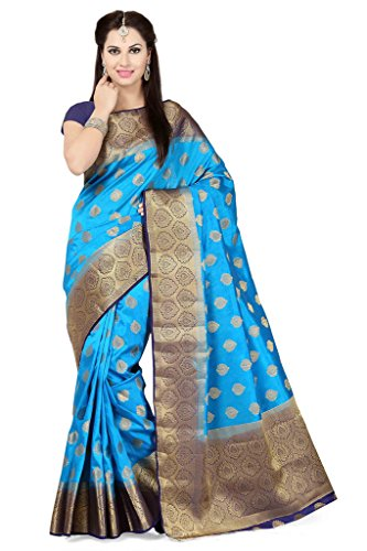 Ishin Poly Tussar Silk Blue & Golden Woven Party Wear Saree.