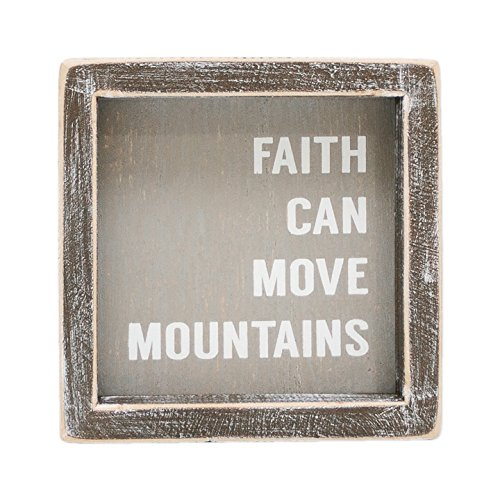 Faith Can Move Mountains Grey 5 x 5 Inch Wood Framed Hanging Wall Plaque by Adams and Co