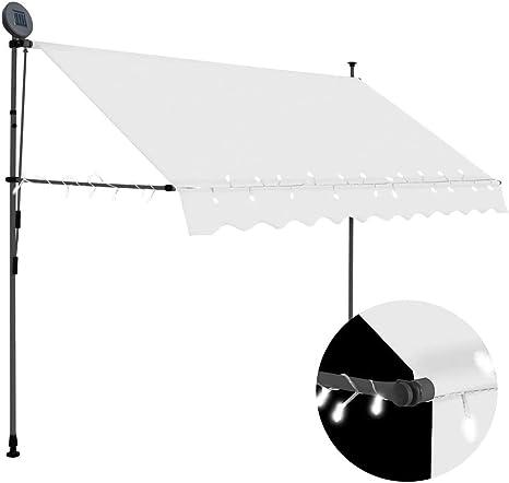 vidaXL Toldo Manual Retráctil con LED Exterior Protección Balcón Patio Solar Pabellón Cubre Impermeable Tienda Aire Libre Camping Quiosco Crema