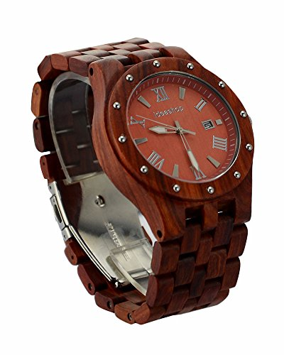 Ideashop Big Case Red Sandalwood Watches Luxury Movement QUARTZ Wood Watch With Date Calendar Unique Gift