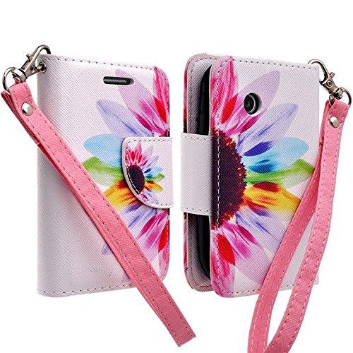 LG 306G 305C Case, LG 306G 305C Case, Wrist Strap Flip [Kickstand] Pu Leather Wallet Case with ID&Credit Card Slot For LG 306G 305C Case - Sun Flower