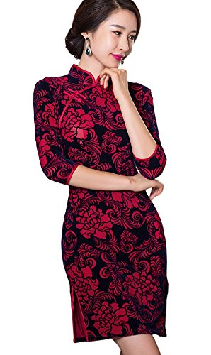 Countries Costumes Asian Traditional (Angcoco Womens Fashion Vintage Silk Chinese Traditional Cheongsam)