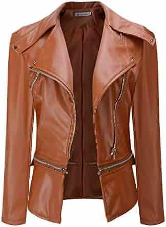 dea80a869ba5 Gergeos Womens Pu Leather Jacket Winter Long-Sleeved Lapel Zipper Coat  Slim-Fit Parka