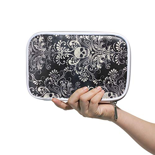 Gothic Skull Damask Scary Halloween Makeup Brushes Bag Multifunction Leather Large Pencil Case Holder Zip Bags -