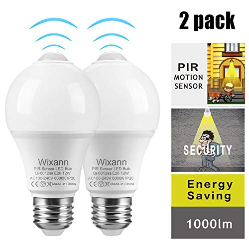 Automatic Sensor - Smart Motion Sensor Light Bulbs, Built-in Motion Detector and Photocell Sensor, Automatic on/Off, Dusk to Dawn, A19/E26/120V/12W/1000lm for Porch Hallway Yard Stairs Garage (2Pack, 6000K Cool White)